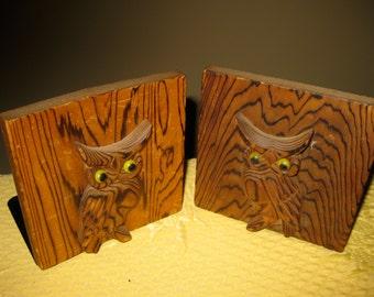 Otagiri  Owl Bookends  Wood Mid Century