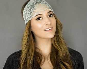 Wide Lace Headband, Boho Headband, Sheer Lace, Women's Fashion Accessories, Cute Headband, Scalloped, Sheer Lace in Headband