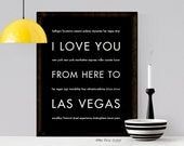 Las Vegas Art Poster, I Love You From Here To LAS VEGAS, Shown in Black - Choose Color Canvas Frame