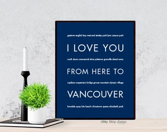 Vancouver Canada Art, Canada Gift, Travel Poster, I Love You From Here To VANCOUVER, Shown in Navy Blue