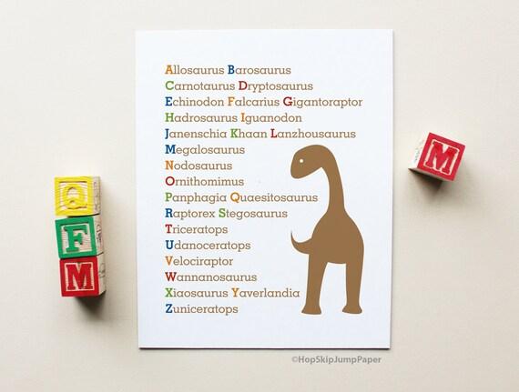 Dinosaur Alphabet Poster -- Boy Nursery Art Print -- Personalize Colors -- Apartment Therapy