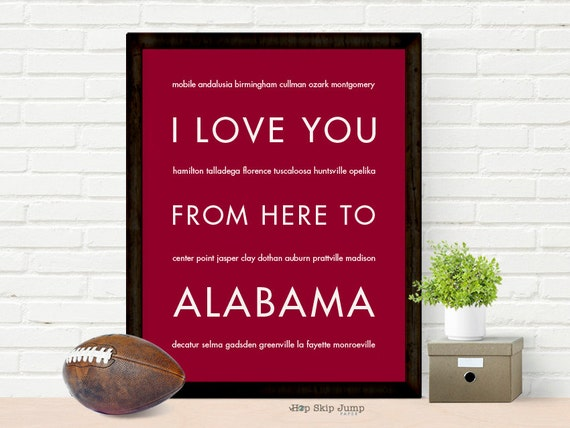 Alabama State Travel Art Print, I Love You From Here To ALABAMA, Shown in Dark Red - Choose Color Canvas Frame