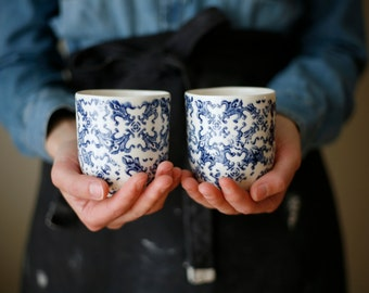 Petit café / Small coffee/ blue flowers set of 2