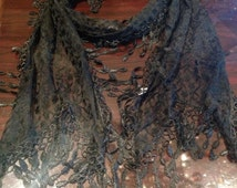 Nemesis Vintage Victorian Style Antique Lace Black Coloered Summer Triagle Scarf Wrap