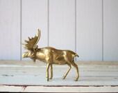 Vintage Brass Moose // Solid Brass