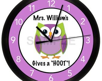 "Owl Hoot Classroom Wall Clock 10"" Diameter"