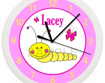 Caterpillar Nursery PERSONALIZED Wall Clock