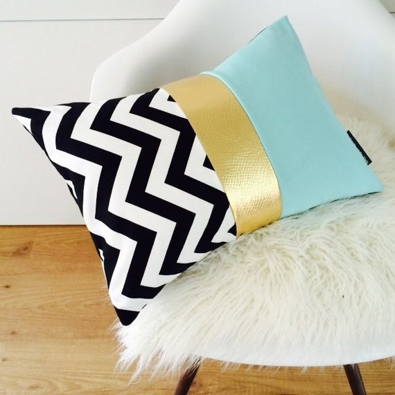 "Chevron Pillow Cover 13""x18"" Lumbar Cushion Black and White Zig Zag Motif Color Blocked Gold Metallic Vintage Turquoise Polyester Modern"