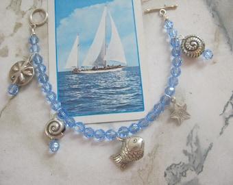 Seaside Thai Silver and Swarovski Blue Crystals Charm Bracelet