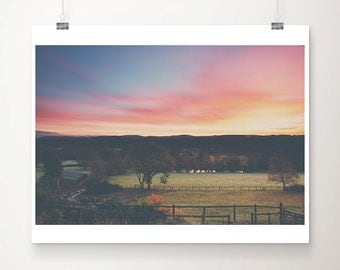 landscape photography sunrise photograph wales photograph countryside print rustic decor pink sky photo field photograph