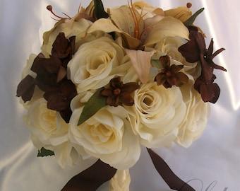 "17 Pieces Package Silk Flower Wedding Decoration Bridal Round Bouquet BROWN CREAM Ivory ""Lily Of Angeles"" IVBR01"