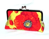Red and yellow Poppies Clutch - Silver kisslock frame