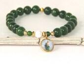 Saint Jude Bracelet, Nephrite Jade (Greenstone) Beads, Catholic Saint Religious Bracelet