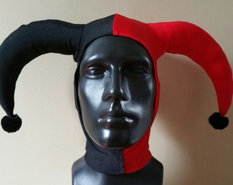 READY TO SHIP Version 2: Harley Quinn Inspired Assault on Arkham Black and Red Stretch Jester Hat One Size