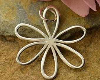 Daisy Large Sterling Silver Daisy Charm with Open Petals - Silver Openwork Daisy, Flower Charm, Flowers