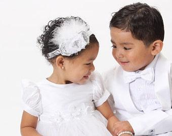 Baptism Baby Headband Christening Flower Girl Wedding Fascinator in Silver and White Photo Prop Birthday Girl