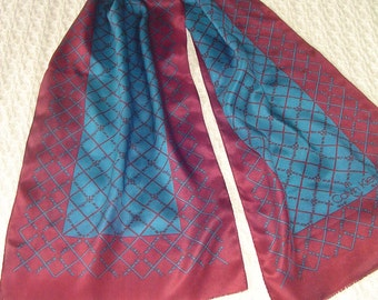 Calvin Klein Long Neck Scarf, Long Neck Scarf, Ladies Neck Scarf, Ladies Accessory, Maroon & Teal Colors, Collectible CalvinKlein