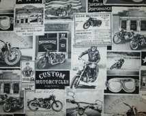 Classic Motorcycles Bikes Vintage Ads LTR Harley Cotton Fabric Fat Quarter Or Custom Listing