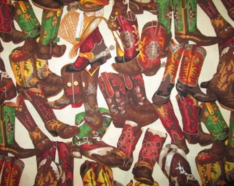 Cowboy Boots Fancy Cowgirl Country Western Cotton Fabric Fat Quarter or Custom Listing