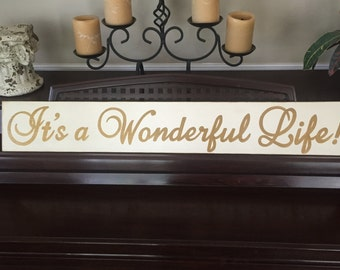 """IT'S a WONDERFUL LIFE Yardlong Sign Plaque 36"""" The Good Life U-Pick Color Wooden Hand Painted"""