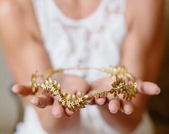 Gold wedding headpiece, greccian headband, leaves crown, bridal leaves headband, bridal headpiece with leaves - OLYMPIA - 150210