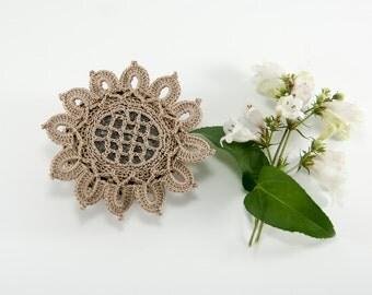 crochet stone, crochet rock, taupe petals, beach wedding, ring bearer pillow, unique design, tabletop decor, bowl element
