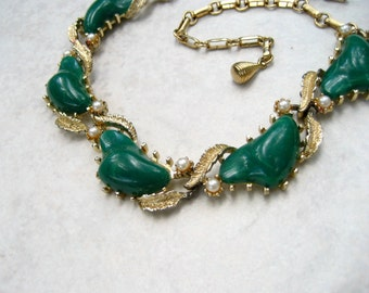Vintage Coro Choker Necklace Green Marbled Lucite Faux Pearl Gold Tone Leaves