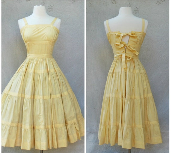 Reserved for lauren Vintage 1940's pale yellow sundress