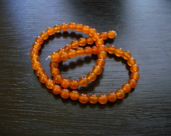 Jade Beads Gemstone Orange Round 6mm