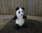 Tiny Needle Felted Panda / Miniature Wool Felt Bear / Needle Felt Wool Animal Waldorf Toy / Black and White Panda Bear Figurine