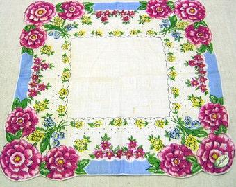 Vintage Pure Linen Carol Stanley Printed Cotton Handkerchief
