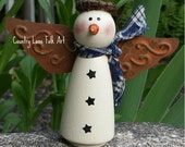 CIJ, Prim snowman, hand painted wooden snowman, Christmas decor, winter decor, snowman decor,