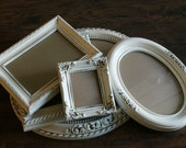 Vintage Frame Set With Glass  Cottage White Shabby Cottage Chic Antiqued French Romantic