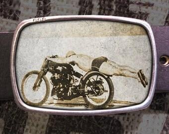 Flying Motorcycle Rollie Free Belt Buckle, Vintage Bike Buckle 528