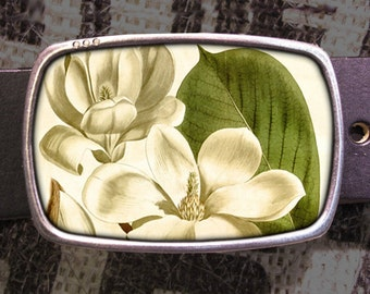 Magnolia Flower Belt Buckle, White Flowers Belt Buckle, Vintage Inspired 543
