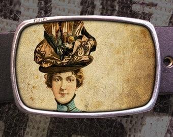 Hat Lady Belt Buckle, Vintage Inspired Buckle 565
