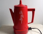 Vintage Regal Electric Coffee pot. RED Poly Perk.   4 to 8 CUP percolator.  Modernist, Mod, Mid century, Eames era.  Working.