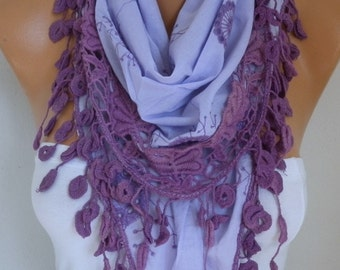 Lilac Scarf Teacher Gift Lavender Embroidered Floral Scarf Cotton Scarf Cowl Gift Ideas For Her Women Fashion Accessories
