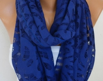 Royal Blue Lace Infinity Scarf Christmas Gift Spring Summer Scarf Cowl Circle Loop Oversized Gift Ideas For Her Women Fashion Accessories