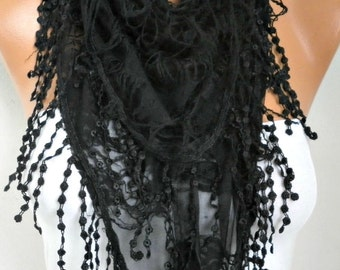 Black Butterfly Scarf Spring Summer Scarf Mother's Day Gift Fringe Scarf Cowl Scarf Gift Ideas For Her Women's Fashion Accessories