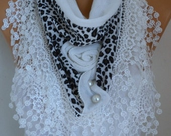 White Knitted Floral Scarf Shawl Cowl Lace Bridesmaid Gift Bridal Accessories Gift Ideas For Her Women Fashion Accessories Mother Day Gift