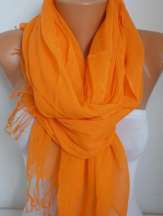 Orange Cotton Scarf, Pumpkin,Halloween, Shawl, Spring Fashion Scarf,Cowl Bridesmaid Gift Gift Ideas For Her, Women Fashion Accessories