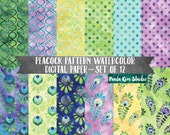 Instant Download, Peacock Digital Paper Pack, Feather Digital Papers, Watercolor Backgrounds, Geometric