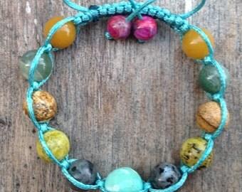 Energy Shamballa Bracelet, Natural Stone, Beaded Bracelet, Gemstone Bracelet, Elements of Nature