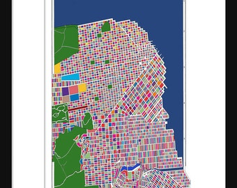 San Francisco Map Rainbow Map Print Poster