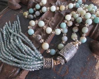 Sugar skull knotted tassel necklace - SkyFall - earthy sky blue beige semi precious stone artisan sterling silver crystal boho by slashKnots