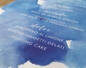 Wedding Menus - Watercolor Weddings - Coastal - Beach Wedding - Blue Wedding - Custom Wedding Menu - The Capri Menu