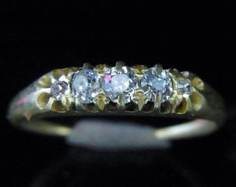 c.1800s Victorian Old Euro &Mine Cut Diamonds 18k Yellow Gold Wedding Band Ring