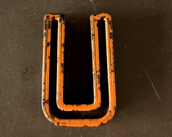 "Vintage Industrial Letter ""U"" Black with Light Orange and Blue Paint, 2"" tall (c.1940s) - Monogram Display, Shadow Box Letter, Art"