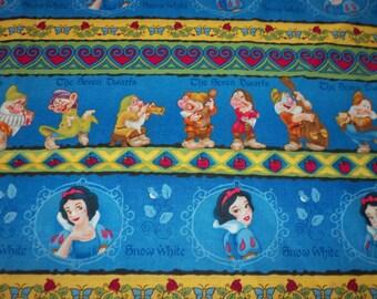 Snow White & 7 Dwarfs Fabric Stripe By The Fat Quarter BTFQ New